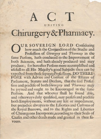 Act Uniting Pharmacy & Chirurgery, 1682, RCSEd 1/3/3/23