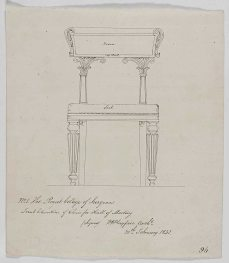 Front elevation of chair for hall of meeting, RCSEd 8/2/2/80