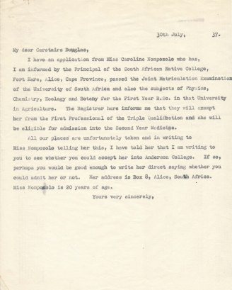 Letter from John Orr to Carstairs Douglas, July 1937