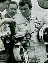 Alan Jones examines a Tamiya Rough Rider and Tamiya Sand Scorcher, sometime prior to 1985