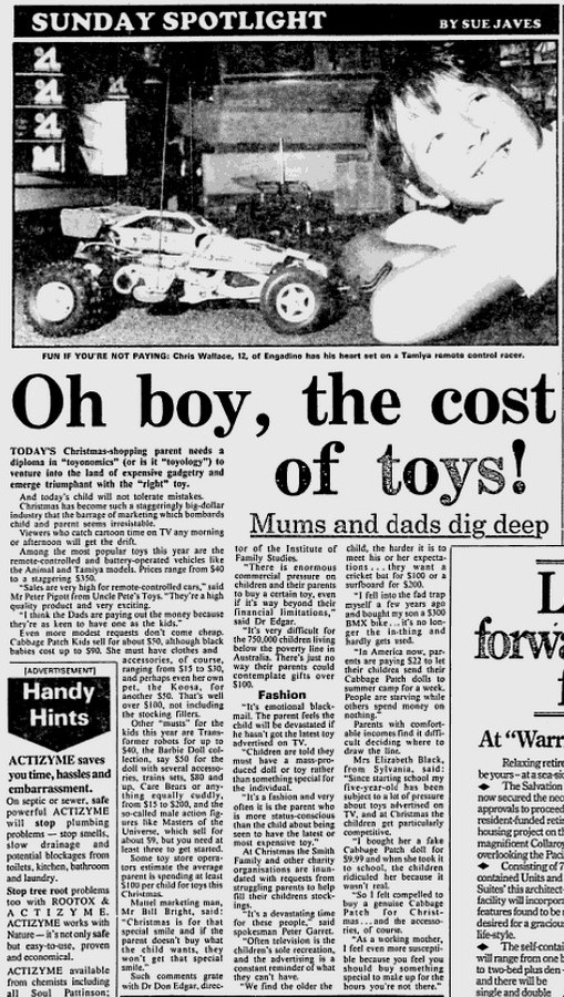 R/C Cars in 1985 Newspaper Article