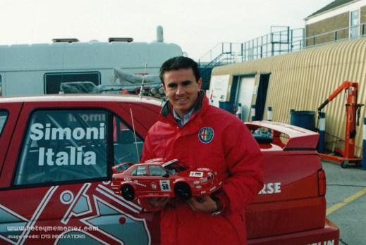 Giampiero Simoni holding Tamiya model, 1994