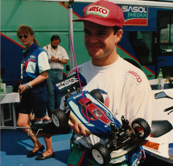 Rubens Barrichello at the French Grand Prix, 1993, holding Tamiya Top Force