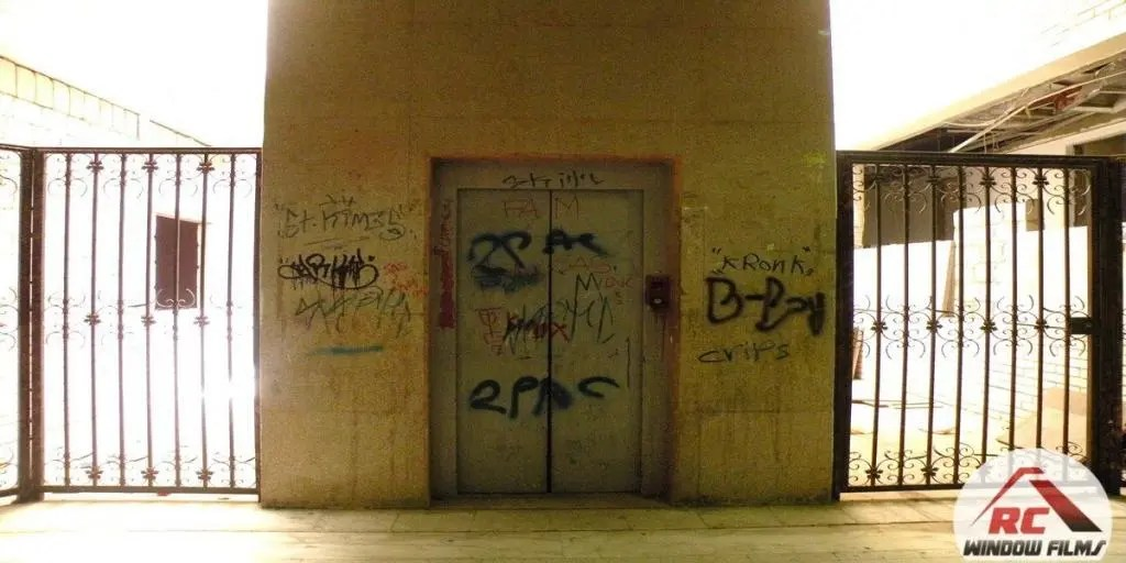 Damaged elevator - Tagged and graffitied.