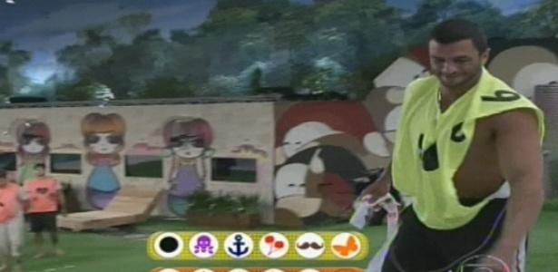 Bambam durante a Prova do Líder (Foto: Reprodução/TV Globo)