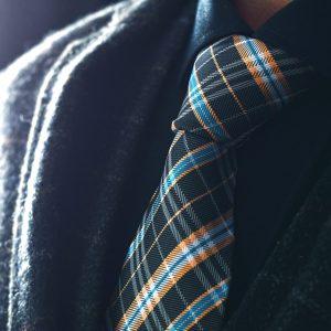 Čierno Žltá Kockovaná Hodvábna Kravata