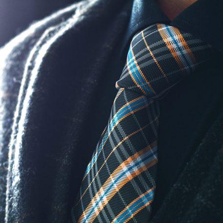 Plaid checkered men's necktie, black