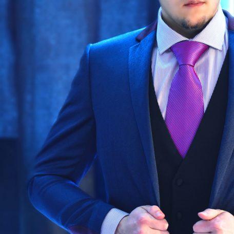 Luxurious silk handmade necktie in blue elegant blazer