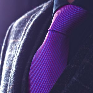 Handmade silk purple striped necktie