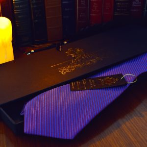 Purple silk handmade striped necktie