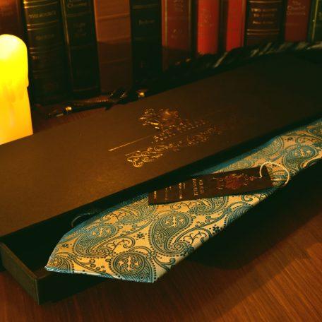 Silk turquoise necktie, handmade, silk