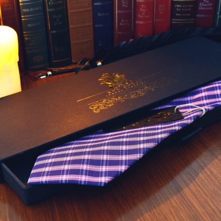 Blue and pink silk striped plaid men's tie