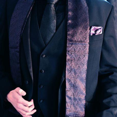 Luxusný hodvábny fialový elegantný šál