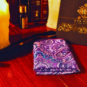 Purple lilac pink paisley cotton pocket square with contrast edges