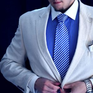 Blue white silk striped tie