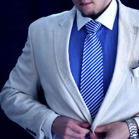 Luxusná Hodvábna Kravata, Pásikavá Bielo Modrá