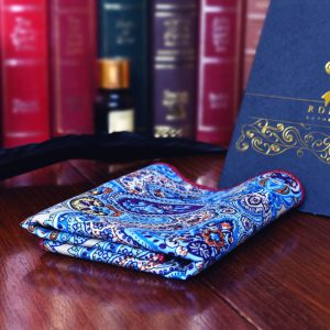 Sky blue paisley pocket square handkerchief