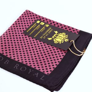 Black and Pink Silk Polka Dot Pocket Square by RDB Royal