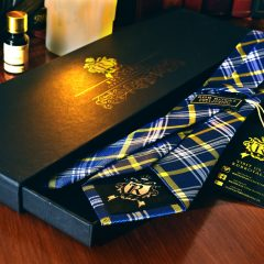 Silk blue and yellow necktie PURE LUXURY COLLECTION by RDB Royal