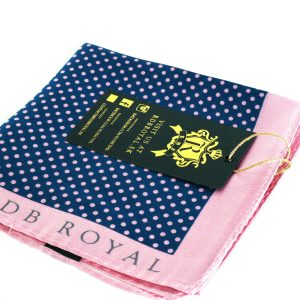 Pink and Blue Polka Dot Pocket Square by RDB Royal