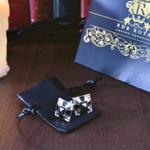 Strieborno čierne manžetové gombíky RDB Royal z chirugickej ocele