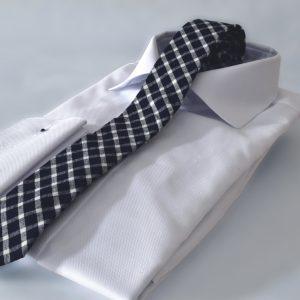 Luxusná prémiová bavlnená extra tenká čiernobiela kockovaná kravata