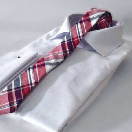Prémiová vínovo červeno modrá kravata kockovaného vzoru RDB Royal