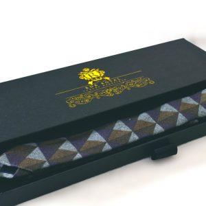 Luxusná bavlnená sivo modro zelená kravata v štýlovom vzore losange v darčekovom balení RDB Royal
