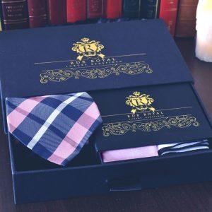 Hodvábny pánsky darčekový set v ružovo modrej kombinácii