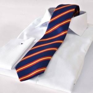 Luxusná hodvábna kravata pásikavá modro-červená