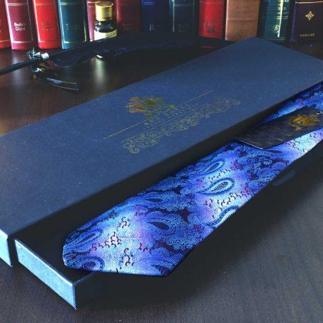 Modrá hodvábna luxusná paisley kravata