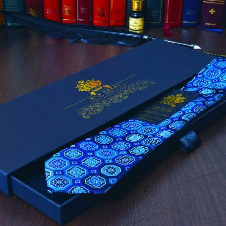 Modrá foulard hodvábna kravata v luxusnom balení