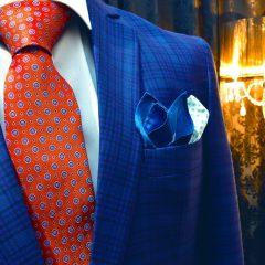 luxusná tehlová kravata oranžovo červená hodvábna Pure Luxury Collection vo vzore foulard