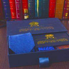 luxusný modro oranžový pánsky hodvábny darčekový set Posedion