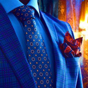luxusný pánsky modro oranžový hodvábny set