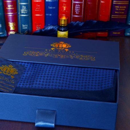 luxusný pánsky hodvábny elegantný šál modrý diamant