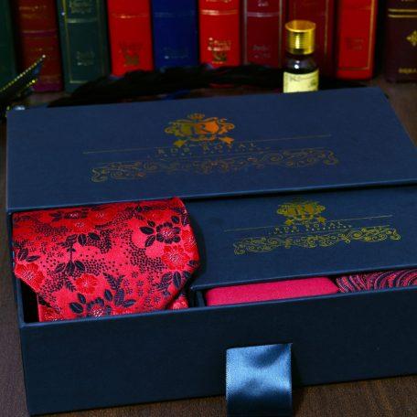hodvábny pánsky darčekový set červeno čierny do obleku