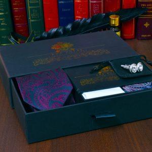 LUXUSNÝ darčekový pánsky set z hodvábnych produktov paisley a manžetových gombíkov swarovski