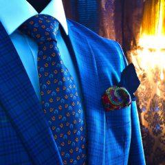 modrý foulard floral paisley hodvábny luxusný pánsky darčekový set