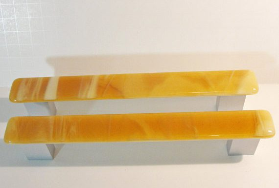 8-Inch Fused Glass Closet Door Pulls Large Cabinet Pulls Amber White Home Decor Door Hardware Office Kitchen Bathroom Extra Large Pulls