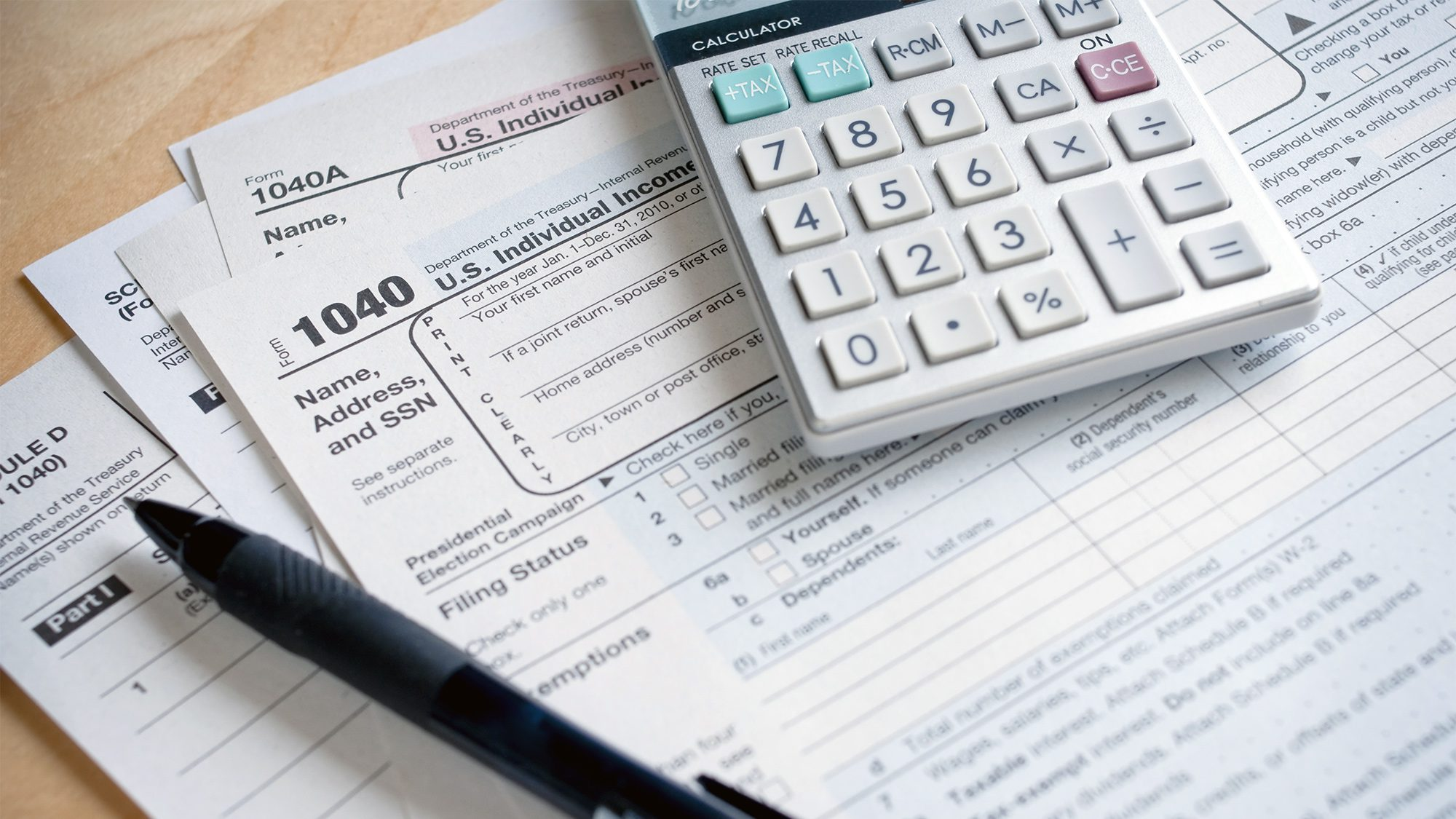 Tax forms, calculator