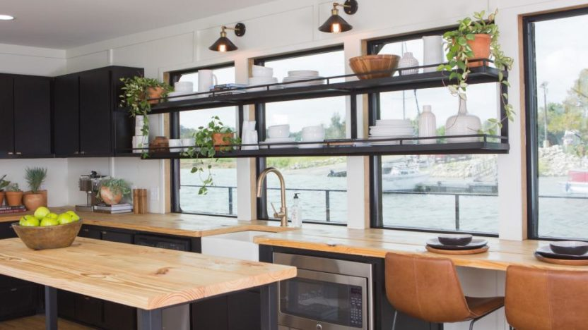 Open shelving in the kitchen of a houseboat?