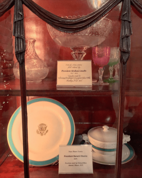 China used during Abraham Lincoln and Barack Obama's administrations are displayed in a case.