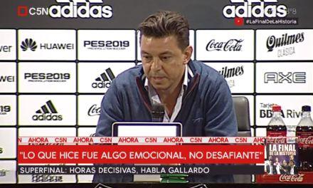 """Gallardo: """"o que fiz foi algo emocional, não desafiador"""""""
