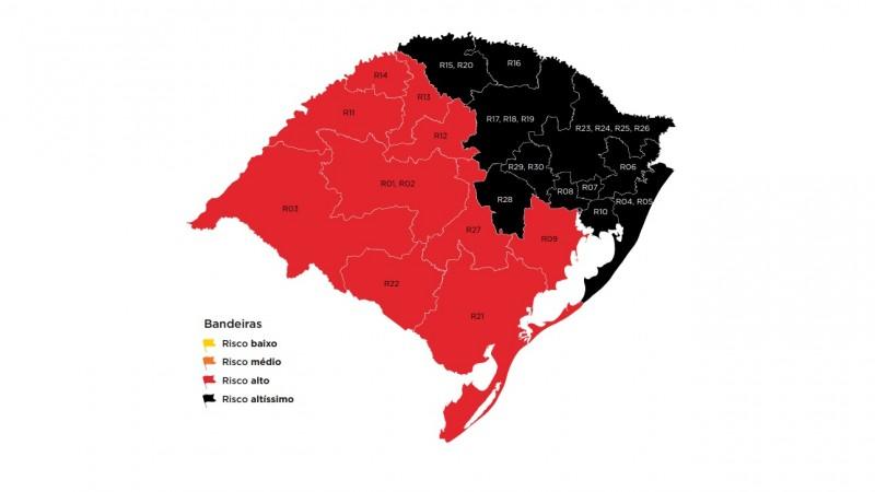 Com onze regiões em bandeira preta, governo do RS publica decretos com novas restrições