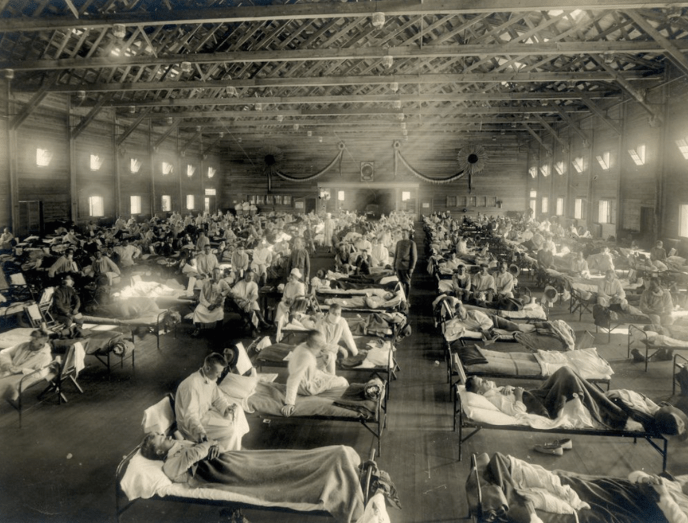 An emergency hospital built during The Spanish Flu Pandemic, Camp Funston, Kansas 1918
