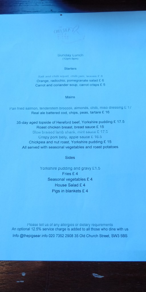 The menu at The Chelsea Pig