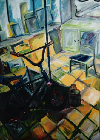 """Bicycle"" oil on linen, 39 x 57 inches, 2001"