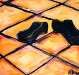 """""""Blue Suede Shoes"""" oil on linen, 36 x 36 inches, 2001"""