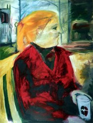 """""""Coffee With Erin"""" oil on linen, 34 x 44 inches, 2000"""